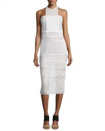 Self-Portrait Striped honeycomb-mesh midi dress at Neiman Marcus
