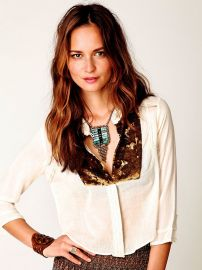 Sequin Button Down at Free People