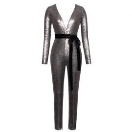 Sequin Deep V Long Sleeve Jumpsuit by Kiss-Her Clothing at Kiss Her