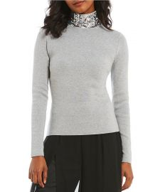 Sequin Neck Turtleneck by Eliza J at Dillards