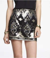 Sequin embellished mini skirt at Express