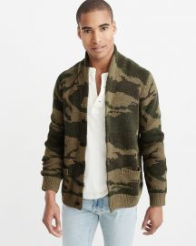 Shawl Cardigan in Olive Camo at Abercrombie