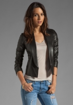 Shawl collar leather jacket by Vince at Revolve