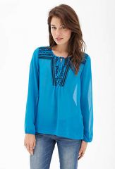 Sheer Embroidered Tunic at Forever 21