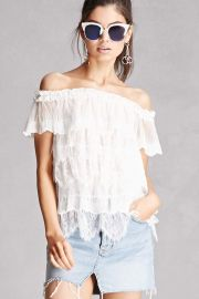 Sheer Lace Off-the-Shoulder Top   Forever 21 - 2000112740 at Forever 21