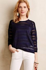Sheer Stripe Pullover in Navy at Anthropologie