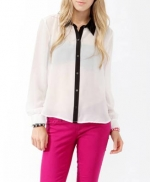 Sheer contrast collar shirt at Forever 21