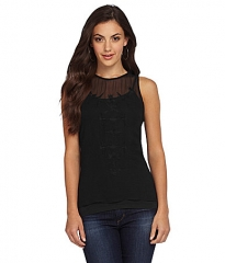 Sheer embroidered tank top by Aryn K at Dillards