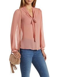 Sheer tie neck top at Charlotte Russe