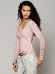 Shell Stitch Lace Henley at Free People