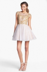 Sherri Hill Embellished Lace Fit andamp Flare Dress at Nordstrom