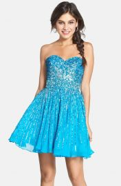 Sherri Hill Embellished Silk Fit andamp Flare Dress in Turquoise at Nordstrom