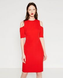 Shift Dress with Shoulder Cutouts at Zara