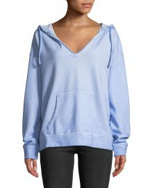Shiloh Hooded V-Neck Stonewashed Hoodie at Last Call