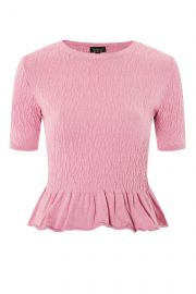 Shirred Knitted T-shirt at Topshop