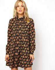 Shirt Dress in Floral Print at Asos