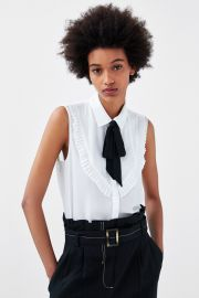 Shirt with Contrasting Bow by Zara at Zara
