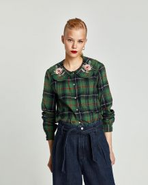 Shirt with Embroidered Collar by Zara at Zara