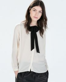 Shirt with bow collar at Zara