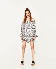 Short Dress with Schiffli Embroidery EMBROIDERY at Zara