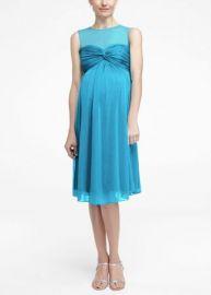 Short Mesh Maternity Dress with Illusion Neckline at David's Bridal