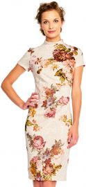Short Sleeve Floral Print Sheath Dress with Mock Neck by Adrianna Papell at Adrianna Papell