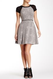 Short Sleeve Genuine Leather Trim Jacquard Dress at Nordstrom Rack