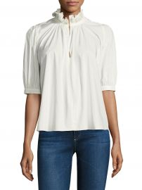 Short Sleeve Poplin Top by Rebecca Taylor at Saks Fifth Avenue