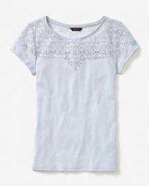 Short Sleeve Rib T-Shirt With Lace at RW&CO.