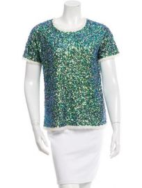 Short Sleeve Sequined Shirt by Gryphon at TheRealReal