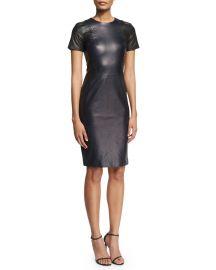 Short-Sleeve Stitch-Trim Leather Sheath Dress at Bergdorf Goodman