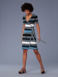 Short-Sleeve Sweater Wrap Dress at DvF