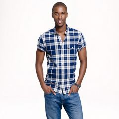 Short sleeve shirt in blue plaid at J. Crew