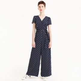 Short-sleeve wrap jumpsuit in polka dot at J.Crew