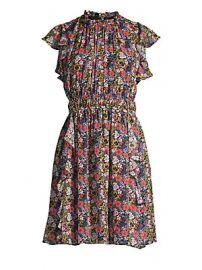 Shoshanna - Amora Floral Ruffled Silk Dress at Saks Fifth Avenue