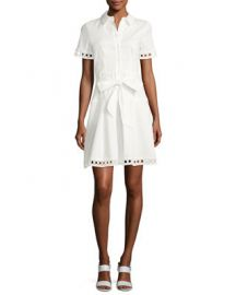 Shoshanna Bertha Belted Eyelet Shirtdress at Neiman Marcus