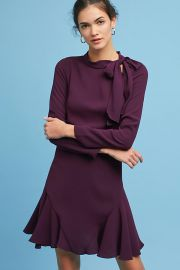 Shoshanna Ruffled Tie-Neck Dress at Anthropologie