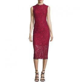 Shoshanna Sleeveless Lace Midi Sheath Dress at Neiman Marcus