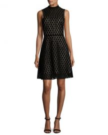 Shoshanna Sleeveless Velvet Polka Dot Cocktail Dress at Neiman Marcus