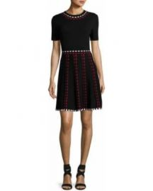 Shoshanna Thompson Short Sleeve Knit Fit and Flare Dress at Neiman Marcus