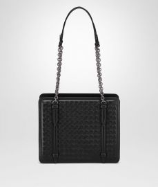 Shoulder Bag in Nero Intrecciato Nappa at Bottega Veneta