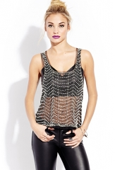 Showstopper Embellished Mesh Tank in black at Forever 21