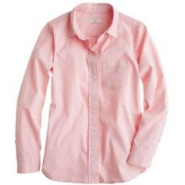 Shrunken shirt in dot oxford in pink at J. Crew