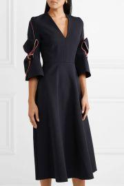 Sibella bow-detailed satin-trimmed crepe midi dress at Net A Porter