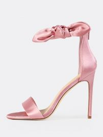Side Bow Satin Ankle Strap Heels at SheIn