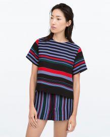 Side Slit Striped Top at Zara