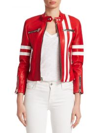 Side Striped Leather Jacket  The Mighty Company at Saks Fifth Avenue