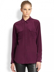 Signature blouse by Equipment in Cabernet at Saks Fifth Avenue