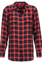 Signature plaid washed-silk shirt at The Outnet