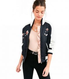 Silence Noise On Tour Satin Varsity Bomber Jacket at Urban Outfitters